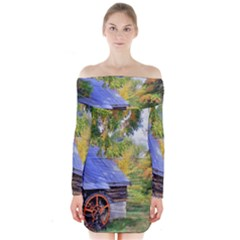 Landscape Blue Shed Scenery Wood Long Sleeve Off Shoulder Dress