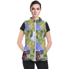 Landscape Blue Shed Scenery Wood Women s Puffer Vest