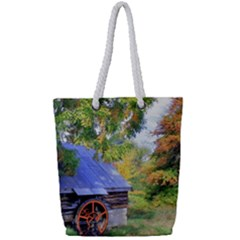 Landscape Blue Shed Scenery Wood Full Print Rope Handle Tote (small)