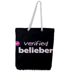 Verified Belieber Full Print Rope Handle Tote (large)