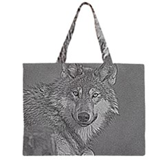 Wolf Forest Animals Zipper Large Tote Bag