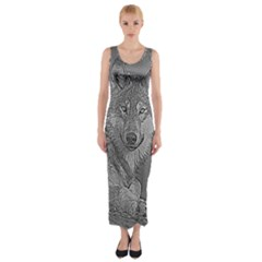 Wolf Forest Animals Fitted Maxi Dress