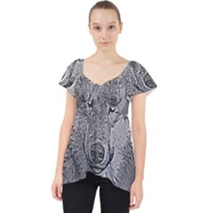 Wolf Forest Animals Lace Front Dolly Top