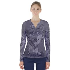 Wolf Forest Animals V Neck Long Sleeve Top