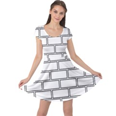 Wall Pattern Rectangle Brick Cap Sleeve Dress