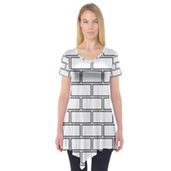 Wall Pattern Rectangle Brick Short Sleeve Tunic