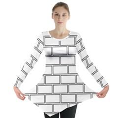 Wall Pattern Rectangle Brick Long Sleeve Tunic