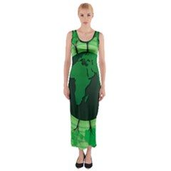 Earth Forest Forestry Lush Green Fitted Maxi Dress