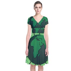 Earth Forest Forestry Lush Green Short Sleeve Front Wrap Dress