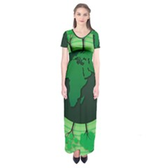 Earth Forest Forestry Lush Green Short Sleeve Maxi Dress