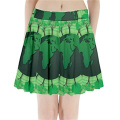 Earth Forest Forestry Lush Green Pleated Mini Skirt