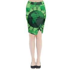 Earth Forest Forestry Lush Green Midi Wrap Pencil Skirt