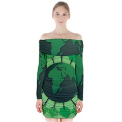Earth Forest Forestry Lush Green Long Sleeve Off Shoulder Dress