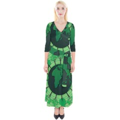 Earth Forest Forestry Lush Green Quarter Sleeve Wrap Maxi Dress