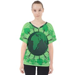 Earth Forest Forestry Lush Green V Neck Dolman Drape Top