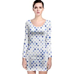 Star Curved Background Blue Long Sleeve Bodycon Dress