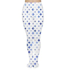 Star Curved Background Blue Women s Tights