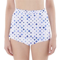 Star Curved Background Blue High Waisted Bikini Bottoms