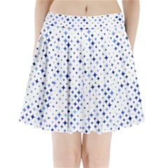 Star Curved Background Blue Pleated Mini Skirt