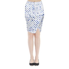 Star Curved Background Blue Midi Wrap Pencil Skirt