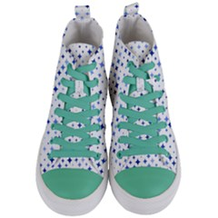 Star Curved Background Blue Women s Mid Top Canvas Sneakers