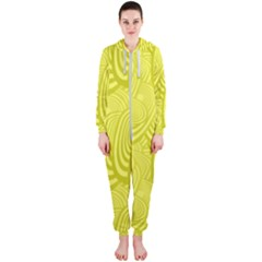 Yellow Oval Ellipse Egg Elliptical Hooded Jumpsuit (ladies)