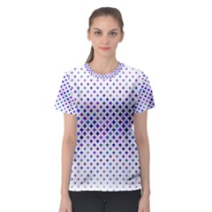 Star Curved Background Geometric Women s Sport Mesh Tee