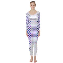 Star Curved Background Geometric Long Sleeve Catsuit