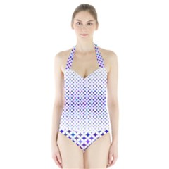 Star Curved Background Geometric Halter Swimsuit