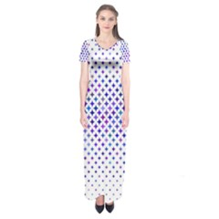Star Curved Background Geometric Short Sleeve Maxi Dress