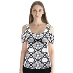 Line Stripe Curves Curved Seamless Butterfly Sleeve Cutout Tee
