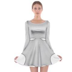 Star Grid Curved Curved Star Woven Long Sleeve Skater Dress