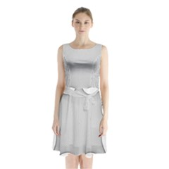 Star Grid Curved Curved Star Woven Sleeveless Waist Tie Chiffon Dress