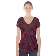 Abstract Fantasy Color Colorful Short Sleeve Front Detail Top