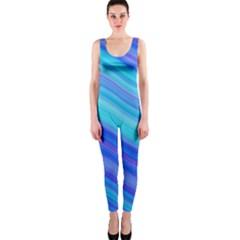 Blue Background Water Design Wave Onepiece Catsuit