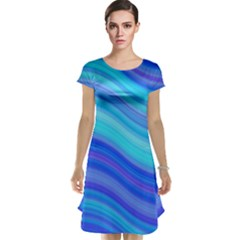 Blue Background Water Design Wave Cap Sleeve Nightdress