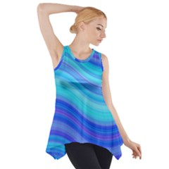 Blue Background Water Design Wave Side Drop Tank Tunic