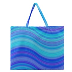 Blue Background Water Design Wave Zipper Large Tote Bag