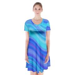 Blue Background Water Design Wave Short Sleeve V Neck Flare Dress
