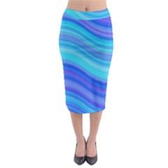 Blue Background Water Design Wave Midi Pencil Skirt