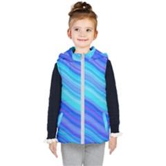 Blue Background Water Design Wave Kid s Puffer Vest