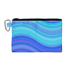 Blue Background Water Design Wave Canvas Cosmetic Bag (medium)