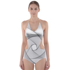 Rotation Rotated Spiral Swirl Cut Out One Piece Swimsuit