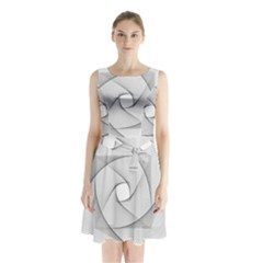 Rotation Rotated Spiral Swirl Sleeveless Waist Tie Chiffon Dress