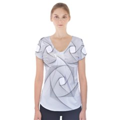 Rotation Rotated Spiral Swirl Short Sleeve Front Detail Top