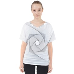 Rotation Rotated Spiral Swirl V Neck Dolman Drape Top