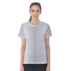 Monochrome Curve Line Pattern Wave Women s Cotton Tee