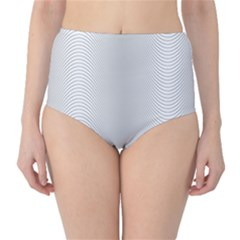 Monochrome Curve Line Pattern Wave High Waist Bikini Bottoms