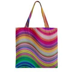 Wave Background Happy Design Zipper Grocery Tote Bag