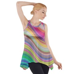 Wave Background Happy Design Side Drop Tank Tunic